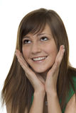 Woman with gestures surprise. Two hands in front of the face Stock Image