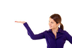 Woman gesturing. Business woman gesturing with hand over white Royalty Free Stock Image