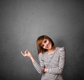 Woman gesturing with copy space Stock Photography