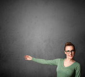 Woman gesturing with copy space Royalty Free Stock Images