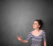 Woman gesturing with copy space Royalty Free Stock Photography