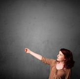 Woman gesturing with copy space Royalty Free Stock Image