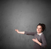 Woman gesturing with copy space Stock Images