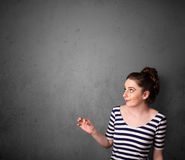 Woman gesturing with copy space Stock Photo