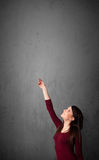 Woman gesturing with copy space Stock Image