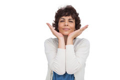 Woman gesturing in front of the camera Royalty Free Stock Image