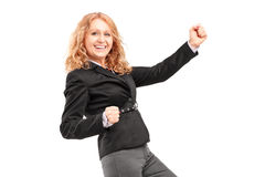 Woman gesturing happiness Royalty Free Stock Images