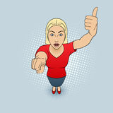 Woman Gesturing. Illustration of a Woman Pointing at You and Giving a Thumbs Up Stock Photo