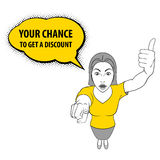 Woman Gesturing. Illustration of a Woman Pointing at You and Giving a Thumbs Up. Discount Royalty Free Stock Image