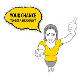 Woman Gesturing. Illustration of a Woman Pointing at You and Giving a Thumbs Up. Your Chance to Get a Discount Royalty Free Stock Photo