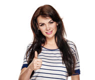 Woman gesturing like. Portrait of young smiling pretty woman gesturing like Royalty Free Stock Photography
