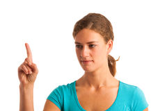 Woman gesturing naughty sign Stock Image