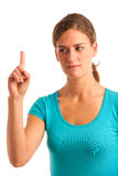 Woman gesturing naughty sign Stock Photo
