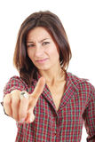 Woman gesturing a no sign Stock Photo
