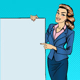 Woman Gesturing on Poster. Businesswoman Holding Banner Royalty Free Stock Images