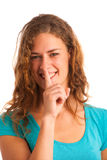 Woman gesturing silence Royalty Free Stock Photography