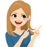 Woman Gesturing Smiling. Beautiful young auburn woman smiling gesturing with fingers and pointing vector illustration