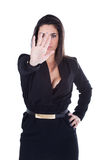 Woman gesturing stop with hand Stock Image