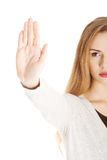 Woman gesturing stop sign Royalty Free Stock Photography
