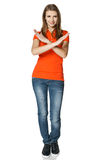 Woman gesturing stop standing in full length Stock Image