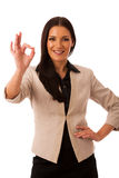 Woman gesturing success with ok sign and big happy smile. Royalty Free Stock Photography