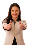 Woman gesturing success with thumbs up and big happy smile. Woman gesturing success with thumbs up and big happy smile isolated over white royalty free stock photos