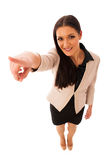Woman gesturing success with thumbs up and big happy smile. Isolated over white stock photos