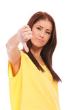 Woman gesturing thumbs down Royalty Free Stock Photography
