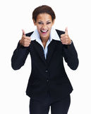 Woman gesturing thumbs up sign with both hands Royalty Free Stock Photography