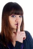 Woman gesturing to silence Royalty Free Stock Image