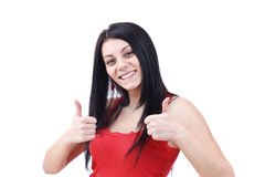 Woman gesturing a yes sign Royalty Free Stock Images