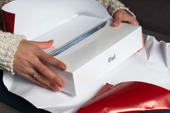 Woman get iPad 3 as gift Royalty Free Stock Photos