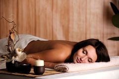 Woman get relax in the spa salon. Young beautiful woman get relax in the spa salon Royalty Free Stock Photos