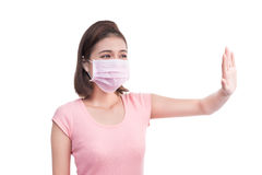 Woman get sick. Asian young woman wear medical face mask Royalty Free Stock Photo