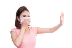 Woman get sick. Asian young woman wear medical face mask Royalty Free Stock Photography