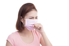 Woman get sick. Asian young woman wear medical face mask Royalty Free Stock Photos