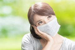 Woman get sick Stock Images