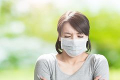 Woman get sick Stock Image
