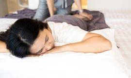 Woman geting massage spa Stock Image