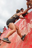 Woman Gets Assist Climbing Wall In Extreme Obstacle Course Race Stock Photography