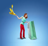 Woman gets clothes from the bag Royalty Free Stock Image