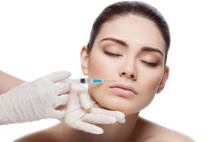 Woman gets collagen injection Stock Image
