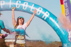 Woman Gets Covered In Colored Corn Starch At Color Run Royalty Free Stock Photos
