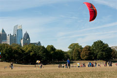 Woman Gets Kite Airborne At Autumn Festival Royalty Free Stock Images