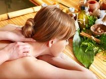 Woman getting aroma massage. Blond woman getting aroma massage in spa stock photo