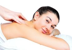 Woman getting a back massage Stock Photography