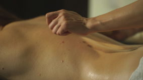 Woman Getting A Back Massage With A Bamboo Stick Stock Video Footage