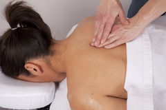 Woman Getting Back Massage Closeup Royalty Free Stock Images