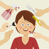Woman getting beauty services with many hands Royalty Free Stock Photography