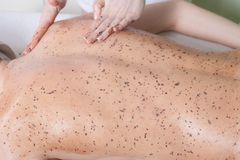 Woman getting a chocolate massage at spa Stock Photos